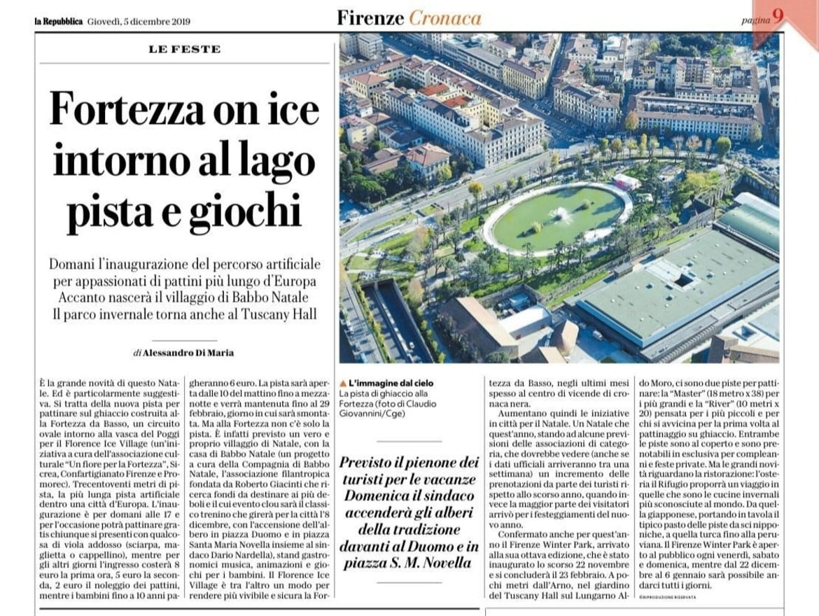 Proud to read about our ice rink in Florence on national media.
